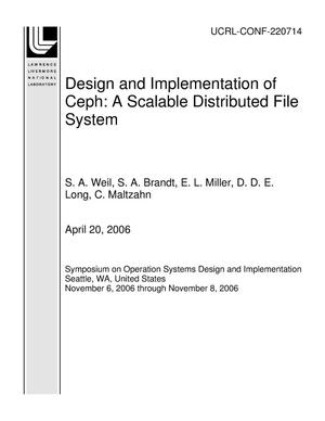 Primary view of object titled 'Design and Implementation of Ceph: A Scalable Distributed File System'.