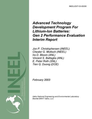 Primary view of object titled 'U.S. DOE FreedomCAR and Vehicle Technologies Advanced Technology Development Program for Lithium-Ion Batteries: Gen 2 Performance Evaluation Interim Report'.