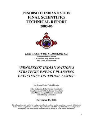 Primary view of object titled 'Penobscot Indian Nation's Strategic Energy Planning Efficiency on tribal Lands'.