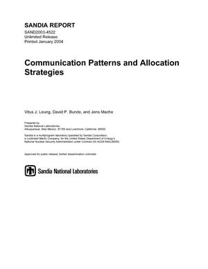 Primary view of object titled 'Communication patterns and allocation strategies.'.