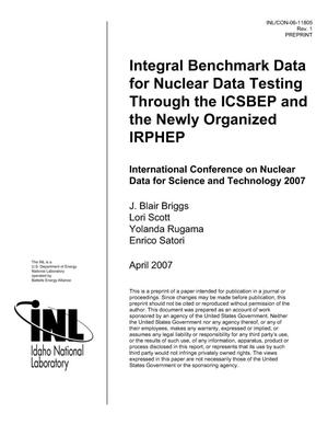 Primary view of object titled 'INTEGRAL BENCHMARK DATA FOR NUCLEAR DATA TESTING THROUGH THE ICSBEP AND THE NEWLY ORGANIZED IRPHEP'.