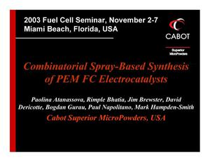 Primary view of object titled 'Combinatorial Spray-Based Synthesis of PEM FC Electrocatalysts'.