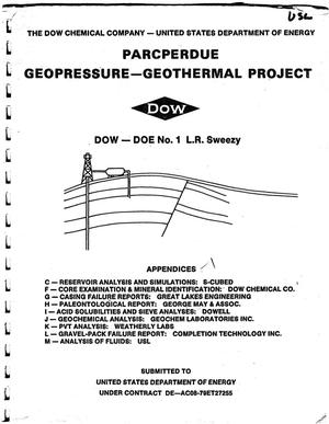 Primary view of object titled 'Parcperdue Geopressure -- Geothermal Project: Appendices (C--M)'.