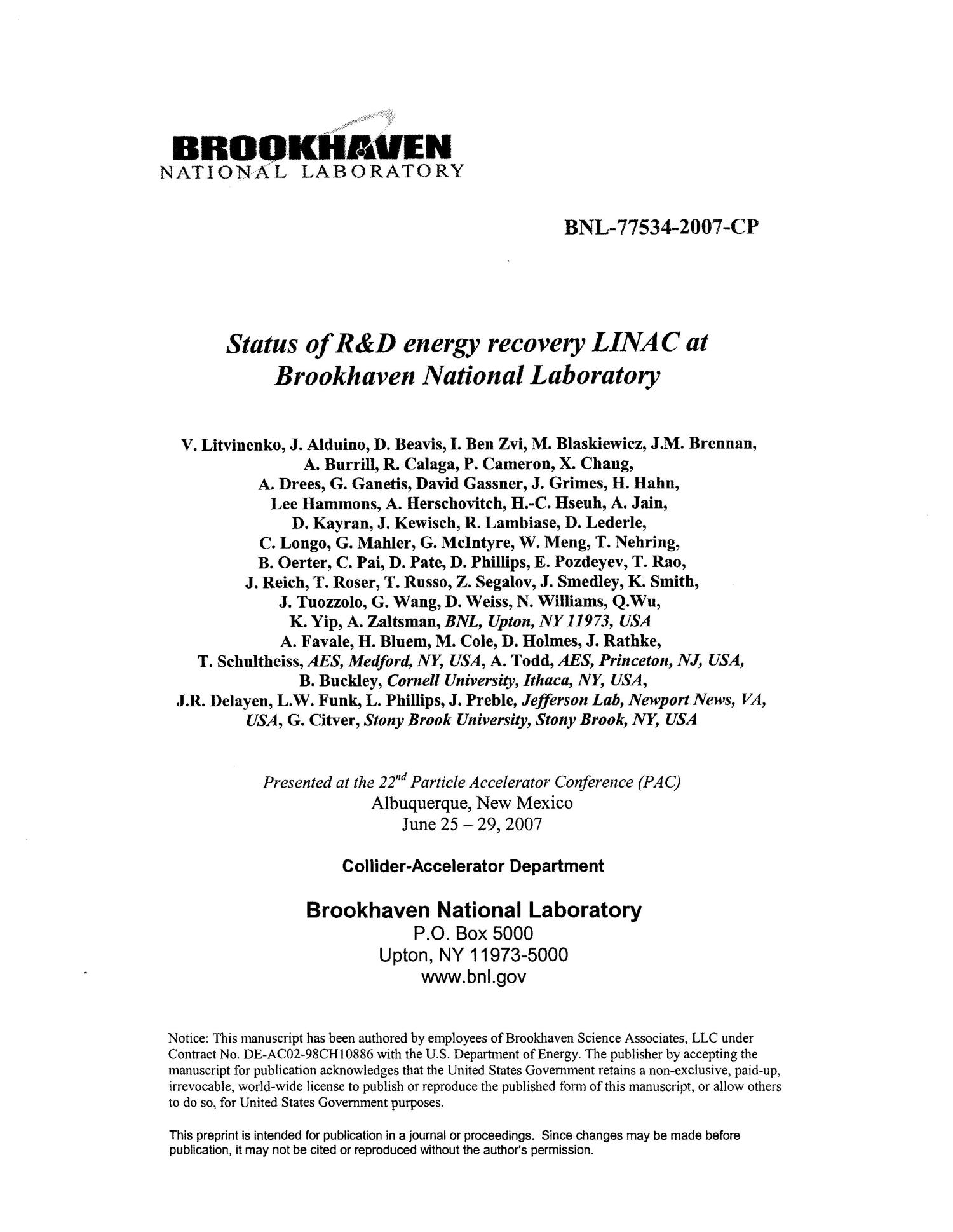 status of r and d energy recovery linac at brookhaven national