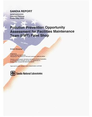 Primary view of object titled 'Pollution prevention opportunity assessment for Facilities Maintenance Team (FMT) paint shop.'.