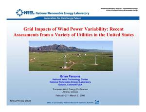 Primary view of object titled 'Grid Impacts of Wind Power Variability: Recent Assessments from a Variety of Utilities in the United States (Presentation)'.