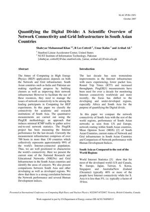 Primary view of object titled 'Quantifying the Digital Divide: A Scientific Overview of Network Connectivity and Grid Infrastructure in South Asian Countries'.