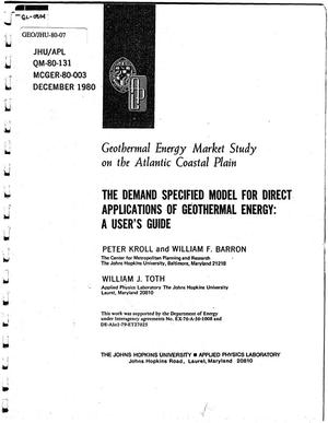 Primary view of object titled 'Geothermal Energy Market Study on the Atlantic Coastal Plain. The Demand Specified Model for Direct Applications of Geothermal Energy: A User's Guide'.