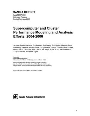 Primary view of object titled 'Supercomputer and cluster performance modeling and analysis efforts:2004-2006.'.