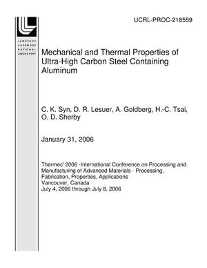 Primary view of object titled 'Mechanical and Thermal Properties of Ultra-High Carbon Steel Containing Aluminum'.