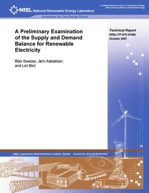 Primary view of object titled 'Preliminary Examination of the Supply and Demand Balance for Renewable Electricity'.
