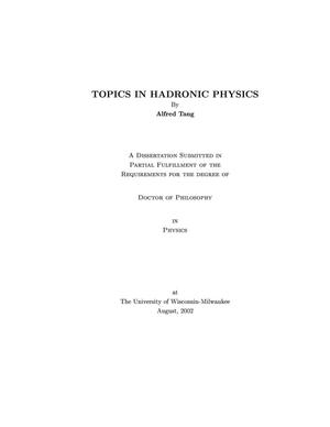 Primary view of object titled 'Topics in Hadronic Physics'.