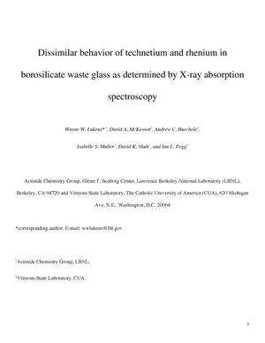 Primary view of object titled 'Dissimilar behavior of technetium and rhenium in borosilicatewaste glass as determined by X-ray absorption spectroscopy'.