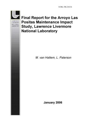 Primary view of object titled 'Final Report for the Arroyo Las Positas Maintenance Impact Study, Lawrence Livermore National Laboratory'.