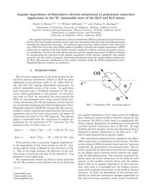 Primary view of object titled 'Angular dependence of dissociative electron attachment topolyatomic molecules: application to the 2B1 metastable state of the H2Oand H2S anions'.