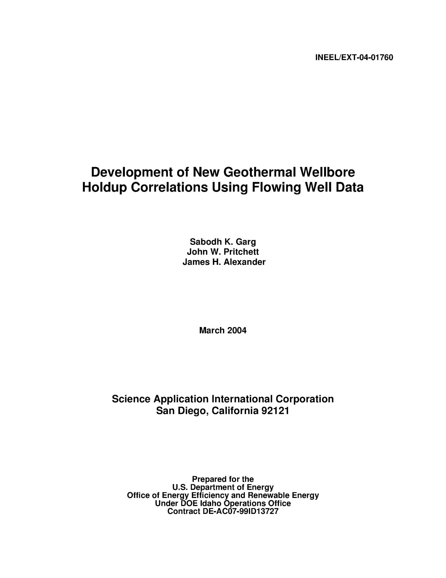 Development of New Geothermal Wellbore Holdup Correlations Using Flowing Well Data                                                                                                      [Sequence #]: 3 of 166