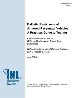 Primary view of object titled 'Ballistic Resistance of Armored Passenger Vehicles: Test Protocols and Quality Methods'.