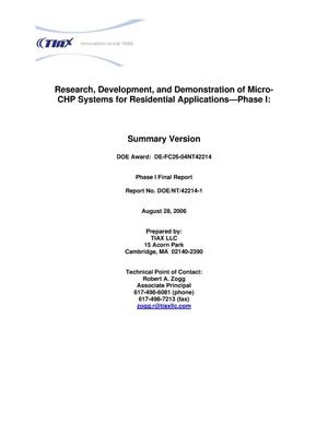 Primary view of object titled 'Research, Development and Demonstration of Micro-CHP Systems for Residential Applications - Phase I'.