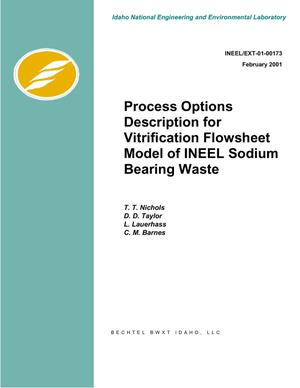 Primary view of object titled 'Process Options Description for Vitrification Flowsheet Model of INEEL Sodium Bearing Waste'.