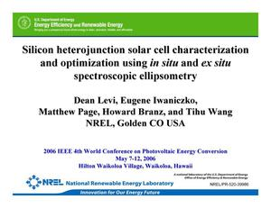 Primary view of object titled 'Silicon Heterojunction Solar Cell Characterization and Optimization Using In Situ and Ex Situ Spectroscopic Ellipsometry (Presentation)'.
