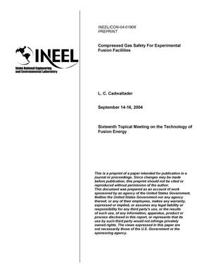 Primary view of object titled 'Compressed Gas Safety for Experimental Fusion Facilities'.