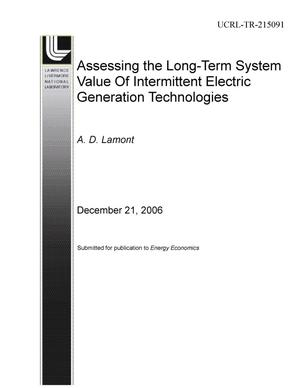 Primary view of object titled 'Assessing the Long-Term System Value of Intermittent Electric Generation Technologies'.