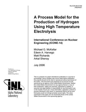 Primary view of object titled 'A Process Model for the Production of Hydrogen Using High Temperature Electrolysis'.