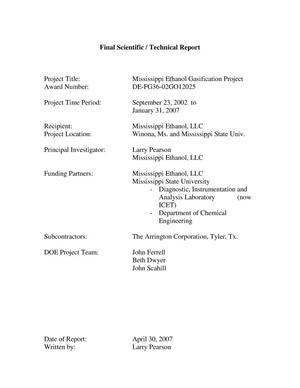 Primary view of object titled 'Mississippi Ethanol Gasification Project, Final Scientific / Technical Report'.