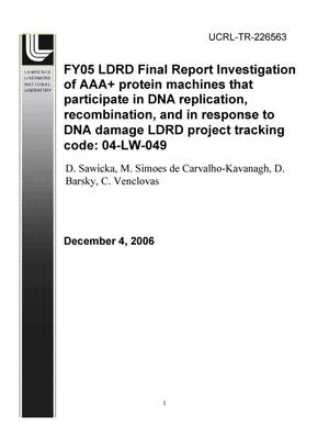 Primary view of object titled 'FY05 LDRD Fianl Report Investigation of AAA+ protein machines that participate in DNA replication, recombination, and in response to DNA damage LDRD Project Tracking Code: 04-LW-049'.