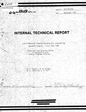 Primary view of object titled 'Internal Technical Report, Low-To-Moderate Temperature Reservoir Engineering Research Program - Fiscal Year 1982'.