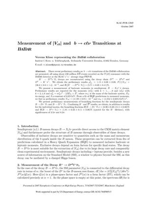 Primary view of object titled 'Measurement of |Vcb| and b to clnu Transitions at BaBar'.