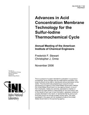 Primary view of object titled 'Advances in Acid Concentration Membrane Technology for the Sulfur-Iodine Thermochemical Cycle'.