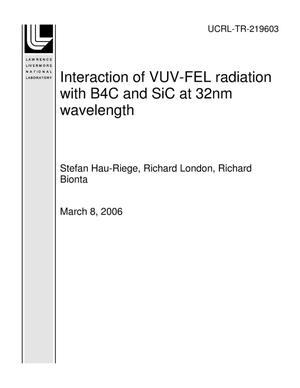 Primary view of object titled 'Interaction of VUV-FEL radiation with B4C and SiC at 32nm wavelength'.