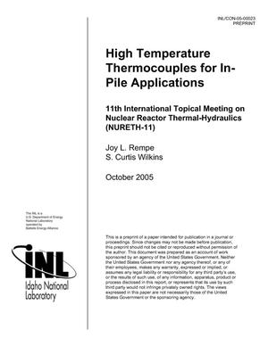 Primary view of object titled 'High Temperature Thermocouples For In-pile Applications'.