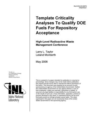 Primary view of object titled 'Template Criticality Analyses to Qualify DOE Fuels for Repository Acceptance'.