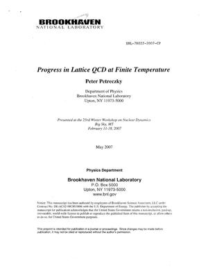 Primary view of object titled 'PROGRESS IN LATTICE QCD AT FINITE TEMPERATURE.'.