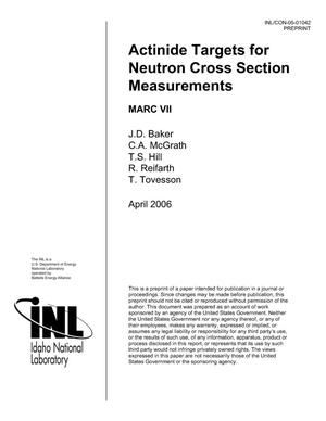 Primary view of object titled 'Actinide Targets for Neutron Cross Section Measurements (C)'.