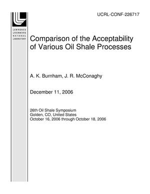 Primary view of object titled 'Comparison of the Acceptability of Various Oil Shale Processes'.