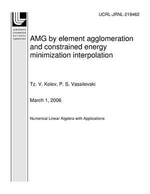 Primary view of object titled 'AMG by element agglomeration and constrained energy minimization interpolation'.