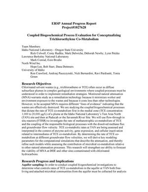 Primary view of object titled 'Coupled Biogeochemical Process Evaluation for Conceptualizing Trichloroethylene Co-Metabolism'.