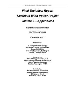 Primary view of object titled 'Final Technical Report - Kotzebue Wind Power Project - Volume II'.