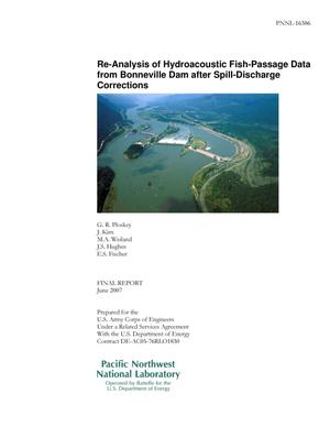 Primary view of object titled 'Re-Analysis of Hydroacoustic Fish-Passage Data from Bonneville Dam after Spill-Discharge Corrections'.