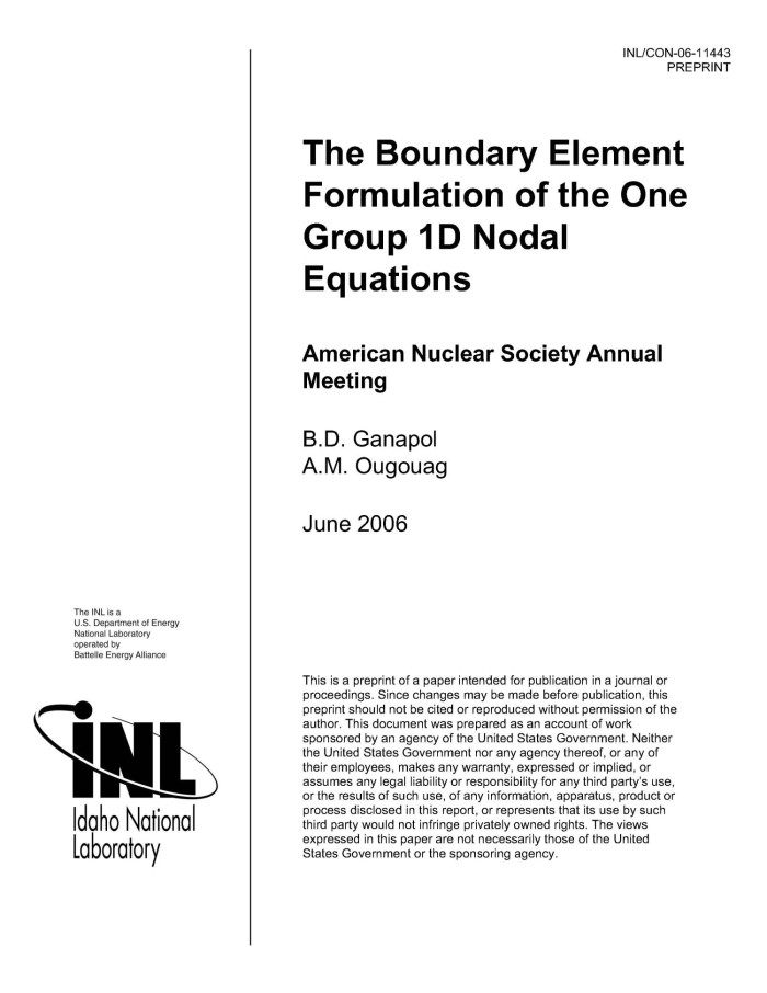 The Boundary Element Formulation of the 1-Group, 1-D Nodal