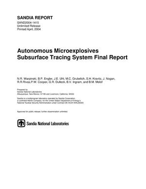 Primary view of object titled 'Autonomous microexplosives subsurface tracing system final report.'.