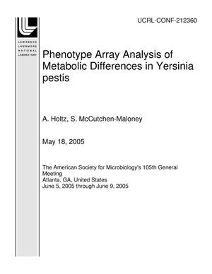 Primary view of object titled 'Phenotype Array Analysis of Metabolic Differences in Yersinia pestis'.