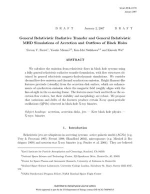 Primary view of object titled 'General Relativistic Radiative Transfer and GeneralRelativistic MHD Simulations of Accretion and Outflows of Black Holes'.