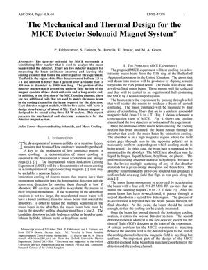 Primary view of object titled 'The Mechanical and Thermal Design for the MICE Detector SolenoidMagnet System'.