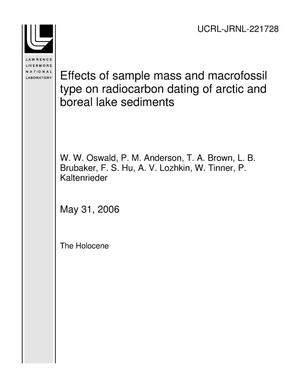 Primary view of object titled 'Effects of sample mass and macrofossil type on radiocarbon dating of arctic and boreal lake sediments'.