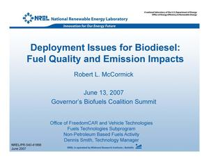 Primary view of object titled 'Deployment Issues for Biodiesel: Fuel Quality and Emission Impacts'.