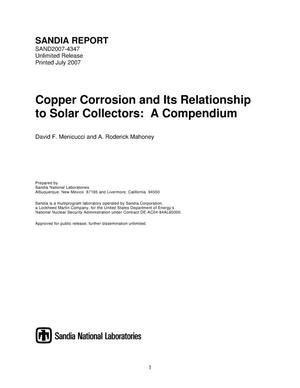 Primary view of object titled 'Copper corrosion and its relationship to solar collectors:a compendium.'.